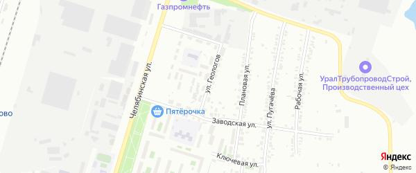 Улица Геологов на карте Челябинска с номерами домов