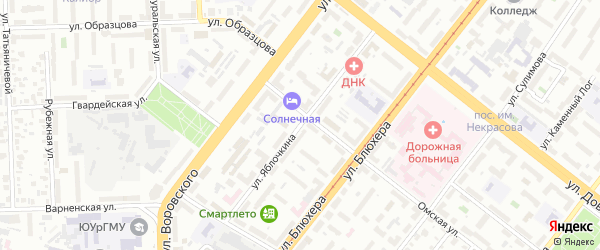 Улица Яблочкина на карте Челябинска с номерами домов