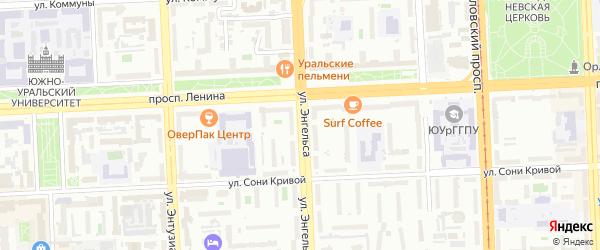 Улица Энгельса на карте Челябинска с номерами домов