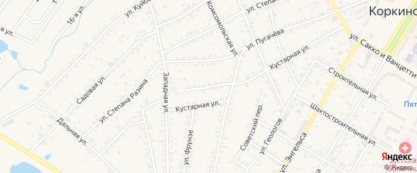 Кустарный переулок на карте Коркино с номерами домов
