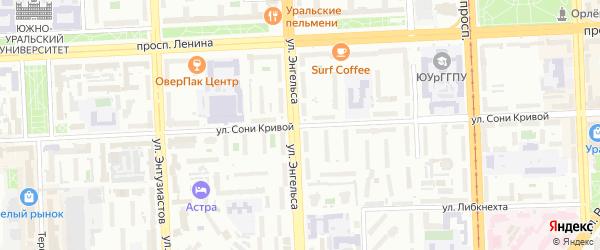 Улица Сони Кривой на карте Челябинска с номерами домов