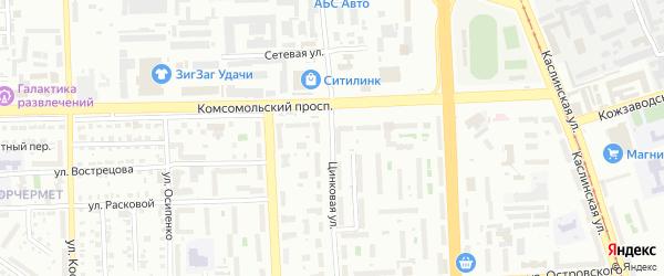 Цинковая улица на карте Челябинска с номерами домов