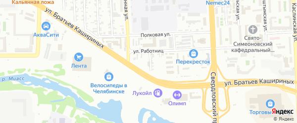 Улица Красных Командиров на карте Челябинска с номерами домов