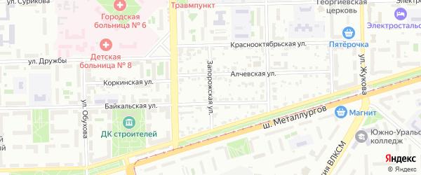 Запорожская улица на карте Челябинска с номерами домов