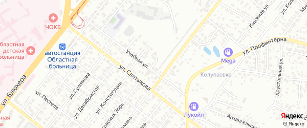 Ясельный переулок на карте Челябинска с номерами домов