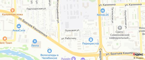 Полковая улица на карте Челябинска с номерами домов