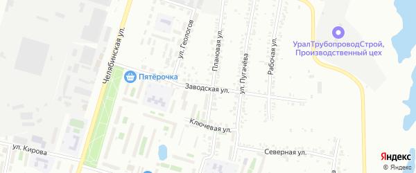 Улица Заводская ( Новосинеглазово) на карте Челябинска с номерами домов
