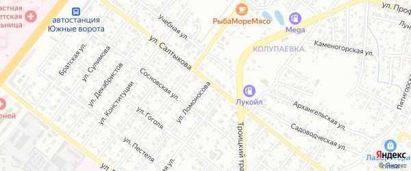 Улица Ломоносова на карте Челябинска с номерами домов