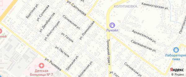 Сосновская улица на карте Челябинска с номерами домов