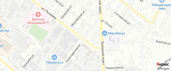 Полетаевская улица на карте Челябинска с номерами домов