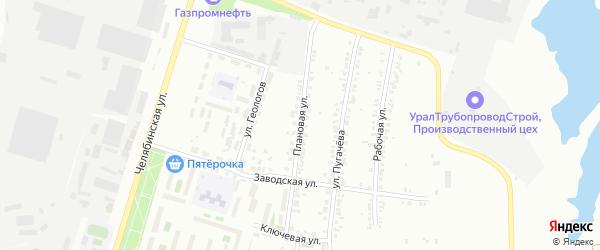 Плановая улица на карте Челябинска с номерами домов