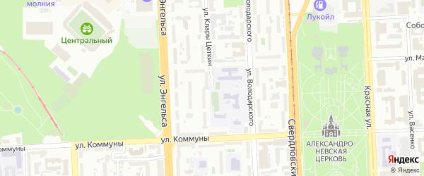 Улица Клары Цеткин на карте Челябинска с номерами домов