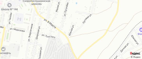 Улица Южная (Новосинеглазово) на карте Челябинска с номерами домов