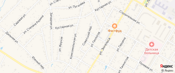 Советский переулок на карте Коркино с номерами домов