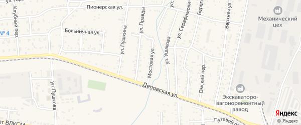 Мостовая улица на карте Коркино с номерами домов