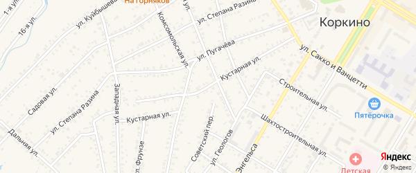 Кустарная улица на карте Коркино с номерами домов