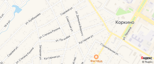 Улица Пугачева на карте Коркино с номерами домов