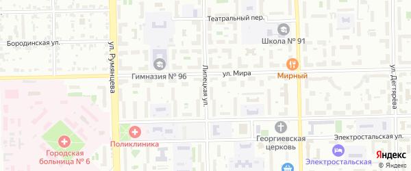 Липецкая улица на карте Челябинска с номерами домов