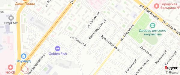 Волгоградская улица на карте Челябинска с номерами домов