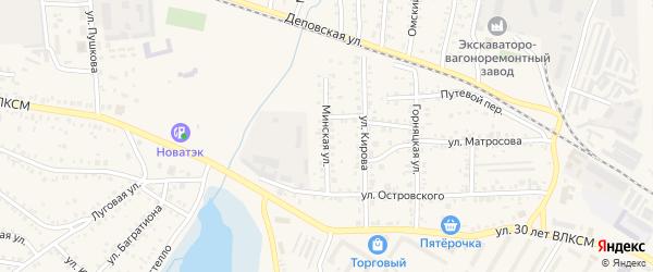 Минская улица на карте Коркино с номерами домов