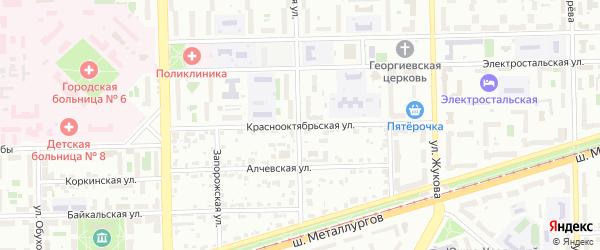 Краснооктябрьская улица на карте Челябинска с номерами домов