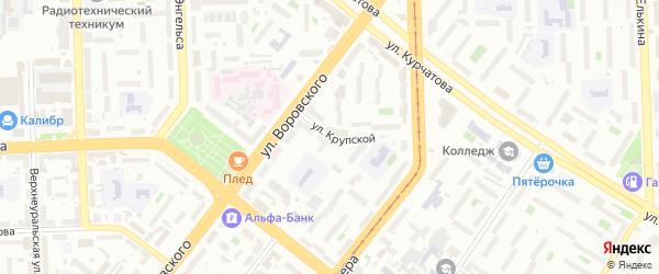 Улица Крупской на карте Челябинска с номерами домов