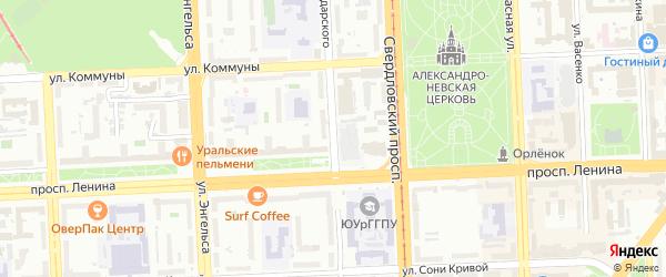 Улица Володарского на карте Челябинска с номерами домов