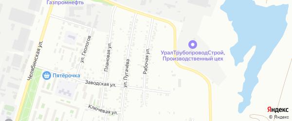 Рабочая улица на карте Челябинска с номерами домов