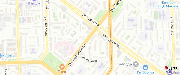 Улица Воровского на карте Челябинска с номерами домов
