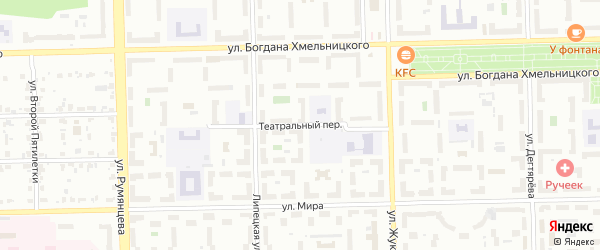 Театральный переулок на карте Челябинска с номерами домов