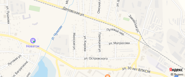 Переулок Матросова на карте Коркино с номерами домов