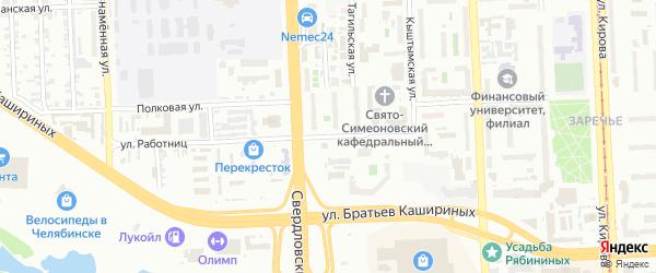 Улица Работниц на карте Челябинска с номерами домов