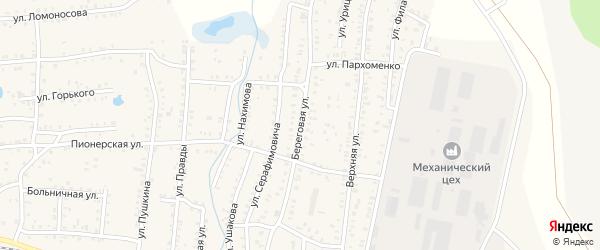 Береговая улица на карте Коркино с номерами домов