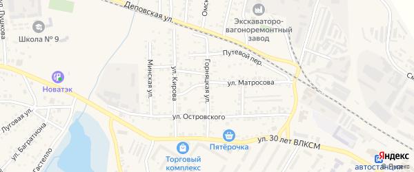 Горняцкая улица на карте Коркино с номерами домов