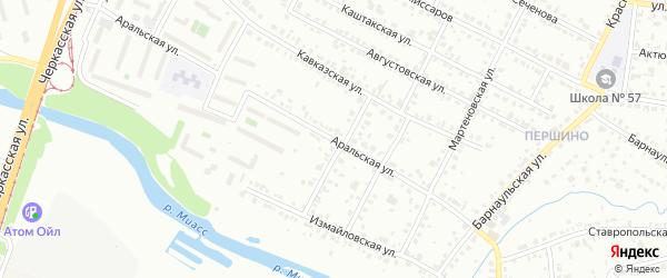 Аральская улица на карте Челябинска с номерами домов