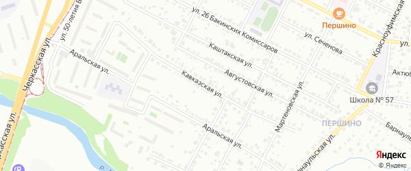 Кавказская улица на карте Челябинска с номерами домов