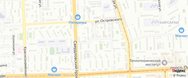 Переулок Островского на карте Челябинска с номерами домов
