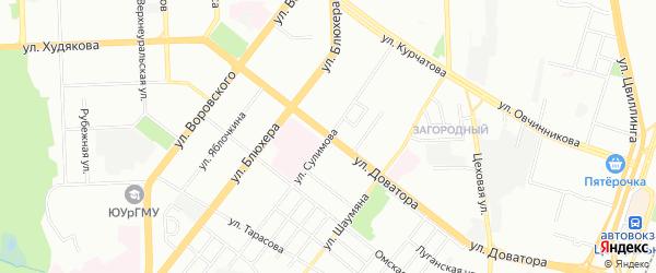 Карта поселка Некрасова города Магнитогорска в Челябинской области с улицами и номерами домов