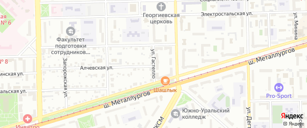 Улица Гастелло на карте Челябинска с номерами домов