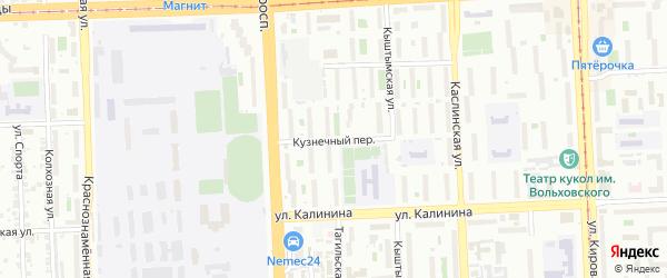 Кузнечный переулок на карте Копейска с номерами домов