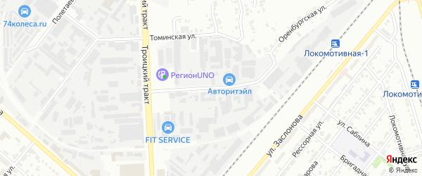 Томинская 1-я улица на карте Челябинска с номерами домов