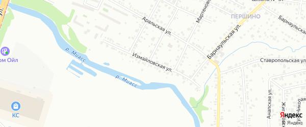 Измайловская улица на карте Челябинска с номерами домов