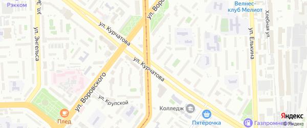 Улица Курчатова на карте Челябинска с номерами домов