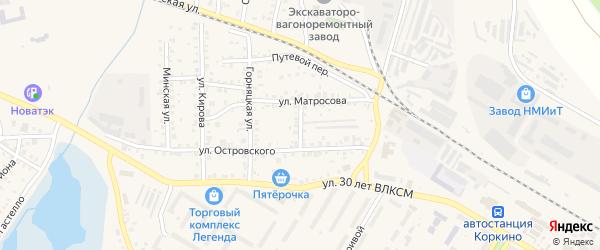 Санитарный переулок на карте Коркино с номерами домов
