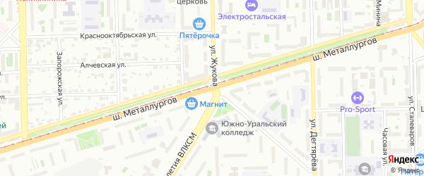 Шоссе Металлургов на карте Челябинска с номерами домов