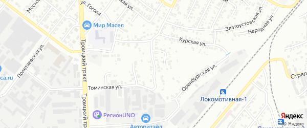 Карагандинская улица на карте Челябинска с номерами домов