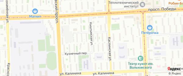 Кыштымская улица на карте Челябинска с номерами домов