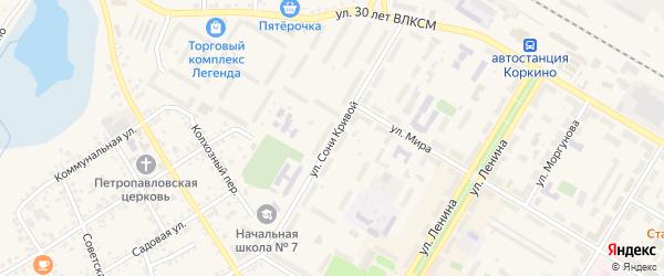 Улица Сони Кривой на карте Коркино с номерами домов