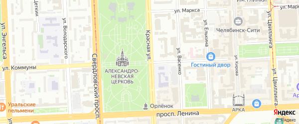 Улица Коммуны на карте Копейска с номерами домов