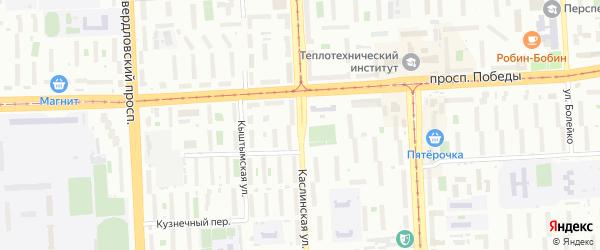 Каслинская улица на карте Челябинска с номерами домов